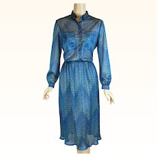 1970s Vintage Dress Sheer Shades of Blue Shirtwaist Style B38