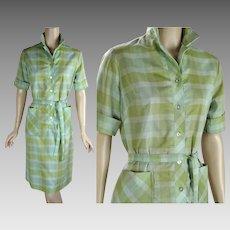 1970s Vintage Dress Green Plaid Perma Press House / Casual Shift Dress Sz 12 B38 W34