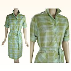 1970s Vintage Dress Green Plaid Perma Press House / Casual Shift Dress Sz 12 B38 W34