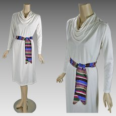 1970s Vintage Dress White Poly with Cowl Neck and Silk Sash Sears Sz 10 B38