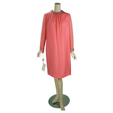 1960s Vintage Party Dress Tangerine Chiffon Shift with Beaded Trim NOS Stepins Sz 20 B42 W40 - Red Tag Sale Item