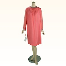 1960s Vintage Party Dress Tangerine Chiffon Shift with Beaded Trim NOS Stepins Sz 20 B42 W40