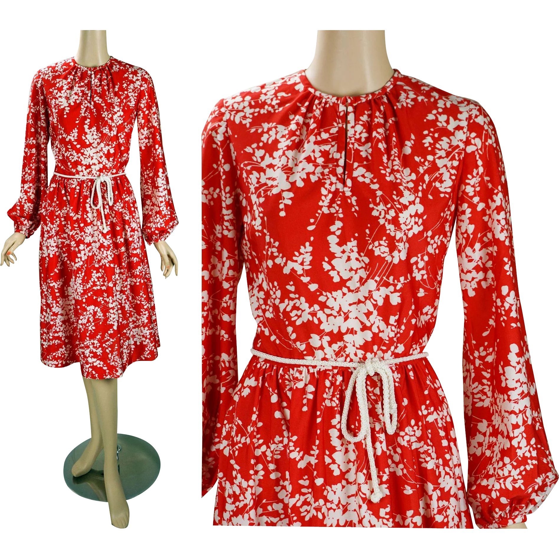 ef53255edc0 1970s Vintage Dress Bright Red and White with Balloon Sleeves and   Alley  Cats Vintage