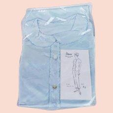 1960s Vintage NOS Pajamas Blue Satin Embroidered Sleepwear PJs Sz 34