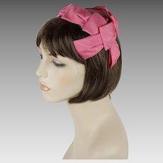 1960s Vintage Hat Pink Ribbon Clip Half Hat
