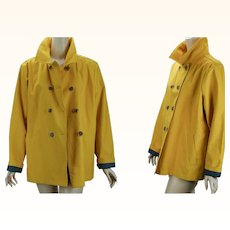 Vintage Canvas Jacket Caution Yellow Double Breasted Workwear Coat by Lands End NOS Sz XL