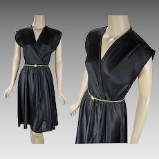 1970s Vintage Dress Black Faux Wrap | Gold Stretch Belt | Sz S