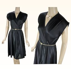 1970s Vintage Dress Black Faux Wrap | Gold Stretch Belt | Sz S