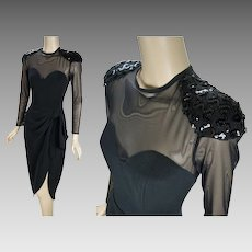 1990 Vintage Dress Black Illusion Mesh Wiggle Party Formal by Betsy and Adam Sz 7-8