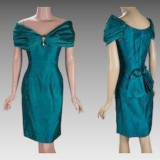 1980s Vintage Party Dress Teal Silk Portrait Collar Formal Cocktail by Scott McClintock Sz 10 B34 W28