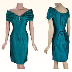 1980s Vintage Party Dress Teal Silk Portrait Collar Formal Cocktail by Scott McClintock Sz 10 B34 W28
