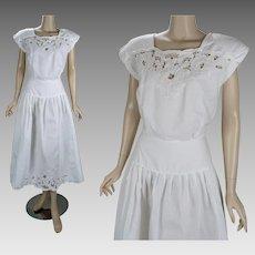1980s Vintage Dress White Cotton Dropped Waist Cutwork by Nancy Johnson Sz 8 B40 W28
