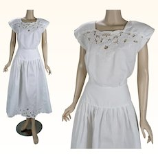 1980s Vintage Dress White Cotton Dropped Waist Cutwork by Nancy Johnson Sz 8 B40 W28