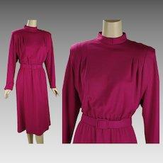 1980s Vintage Dress Raspberry Knit by Checkaberry Sz 12