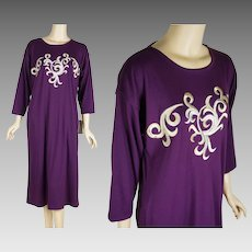 1990s Vintage Lounging Robe Deadstock Lucie Ann II   Pockets   Eggplant   Sz M