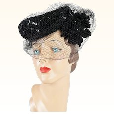 1940s Vintage Tilt Hat Embellished and Veiled Black Sequin Asymmetrical by Carol Brent