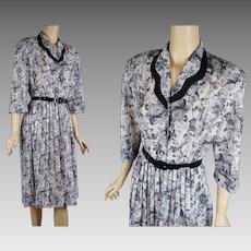 1980s Vintage Dress | Grey Rose Pattern Shirtwaist | Knife Pleated Skirt | California Looks | Sz 14P