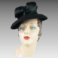 1940s Vintage Hat Black Felt Brimmed Tilt with Chimney Crown Wm Block