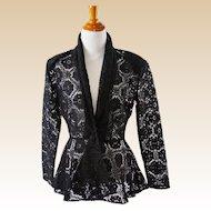 1980s Vintage Black Lace Peplum Jacket B40 W28