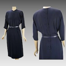 1950s Vintage Dress Navy Blue Crepe by Leslie Fay B40 W28