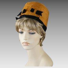 1960s Vintage Hat Mustard Faux Fur High Crown Pillbox by Betmar Sz 22