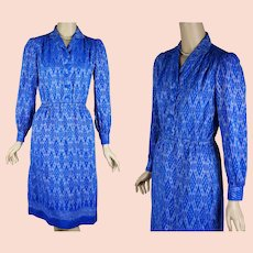 1970s Vintage Dress Blue Silk Ethnic Shirt Dress B38