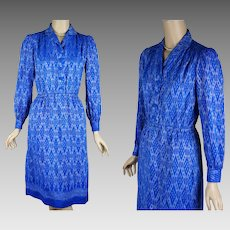 1970s Vintage Dress Blue Silk Ethnic Shirt Dress B38
