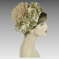 1960s Vintage Hat Beige Raffia Pixie with Silk and Velvet Florals by Joy Dorcey Sz 22 1/2