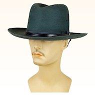 1980s Vintage DMV Hat Virginia State Trooper Dark Green Stratton Hat with Strap Sz 7 1/8