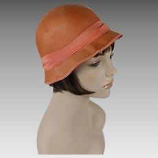 1980s Vintage Hat Galanos Tangerine Straw Cloche Sz 22