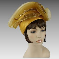 Vintage Hat Extreme Church Lady Hat Mustard Polypropylene with Sequins and Netting by Citation Sz 22 1/2
