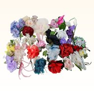 Vintage Millinery Trim Flowers Florals Corsages Hat Maker Supplies 28 Pieces