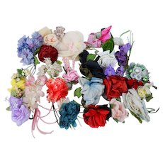 Vintage Millinery Trim Flowers Florals Corsages Hat Maker Supplies 28 Pieces