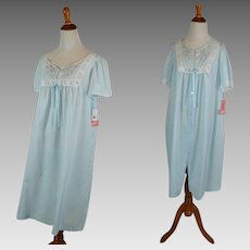 Vintage NOS Nightgown and Robe | Pale Blue Cotton Set | NWT by Carole | Sz M