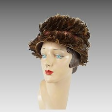 1960s Vintage Hat Flower Pot Style with Pheasant Feathers Sz 21