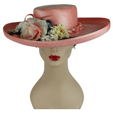 1970s Vintage Hat Pink Straw Curled Wide Brim with Florals by Don Anderson Sz 22 1/2