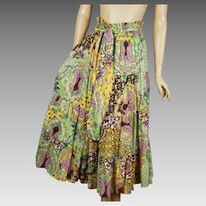 Indian Cotton Full Circle Tier Skirt Multi-Colored by Kaktus Sz M