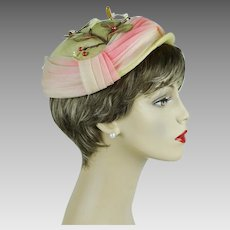 1980s Vintage Hat Ivory Straw Beret with Pink Ombre Hatband by Sonni Sz 21