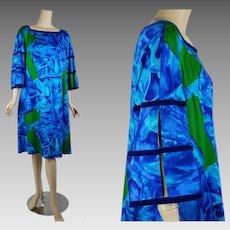 Vintage Hawaiian Dress Bright Royal Blue and Green | VOLUP | kiyomi of Hawaii | Sz 18 B48