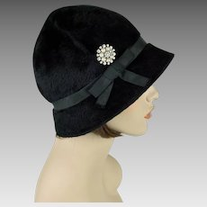 Vintage Hat Black Faux Fur Coche | Adaptation of Original Jean Barthlet | Sz 22