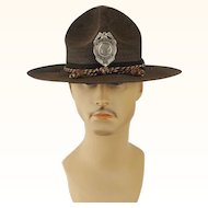 Vintage Milan Straw Police Hat with Badge Sz 23