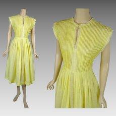 1950s - 1960s Vintage Dress Bright Yellow Full Skirt Organdy B36 W27