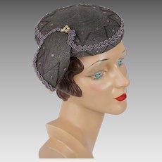 1950s Vintage Hat Grey Straw Cocktail Toque with Pearl Accents and Side Swag