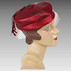 1960s Vintage Hat Ruby Red Beaded Veiled Satin Pillbox