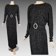 1990s Vintage Evening Gown Black Noir Glitter Formal by Jessica Howard Sz 6