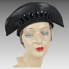 Vintage Hat Extreme Church Lady Hat Black Polypropylene with Beading by Deborah Sz 22