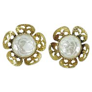 Celebrity Clip On Earrings Faux Baroque Pearl Cabochon Gold-Tone Filigree