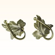 Vintage Gold-Tone Whiting & Davis Leaf Clip On Earrings