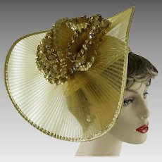 Vintage Hat Extreme Church Lady Hat Gold Polypropylene with Embellishments by Sylvia Sz 21