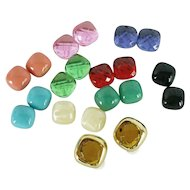 Joan Rivers Signed Vintage Gold-Tone Clip On Earrings with 10 Interchangeable Colors   Original Box